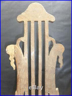 PAIRE D'APPLIQUES ANCIENNES en BOIS SCULPTE LYRE à 2 BRAS de LUMIERE BOUGIES