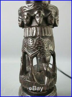 PIED LAMPE ANCIEN BOIS ÉBÈNE DE MACASSAR AJOURÉ SCULPTÉ ART AFRIQUE H 27,5 cm