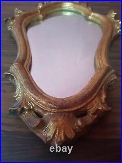 Paire Ancien Miroir Bois Sculpté Doré Style Rocaille XIXeme Vintage