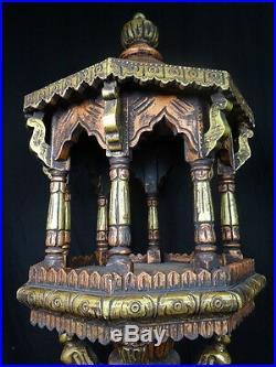 Paire Ancien Style Oriental Sculpté Bois Bouddha Temple Lanterne Affichage Stand