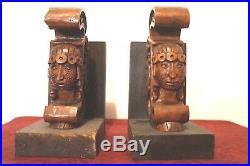 Paire De Serre Livre Ancien Signe Vega Bois Sculpte Personnages