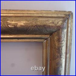 Paire cadre ancien bois sculpté et doré feuille montage clé 40x31.5 cm