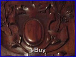 Paire de panneaux de portes anciens -blason-fleur sculpté massif- carved wood