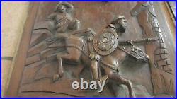 Paire de panneaux de portes anciens bois sculpté chevaliers carved wood XIX ème