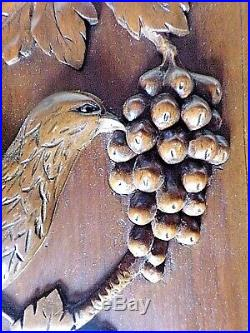 Paire panneaux anciens-portes-oiseaux/grives-bois sculpté massif- carved wood