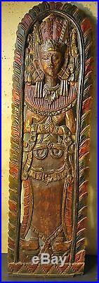 Panneau Ancien Bois Sculpté Statue Déesse Indonésienne Bas Relief 97 cm X 28 cm