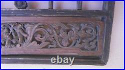 Panneau Ancien En Bois Sculpte Avec Cabochons En Verre Decor Asiatique