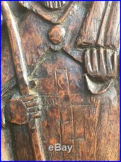 Panneau de Bois Sculpté Teinté Ancien Évêque Mitre Art Populaire Antique French