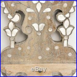 Petite étagère murale sculptée en bois incrusté de nacre Syrienne ancienne