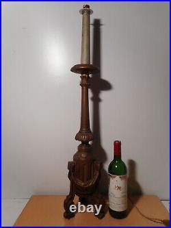 Pique cierge ancien 19 siècle bois sculpté élèctrifié monté pied lampe