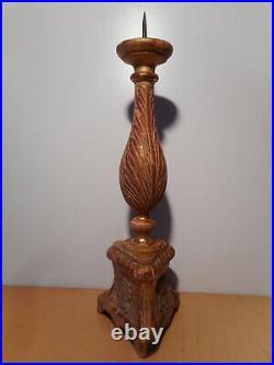 Pique cierge ancien église 18 / 19 siècle bois sculpté doré décor coeur sacré