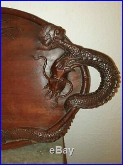 Plateau Ancien En Bois Sculpte. Decor Au Dragon. Chine. Indochine
