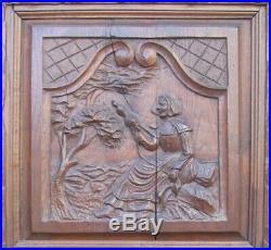 Portes anciennes bois sculpté placard armoire séparation XIXeme Bretagne