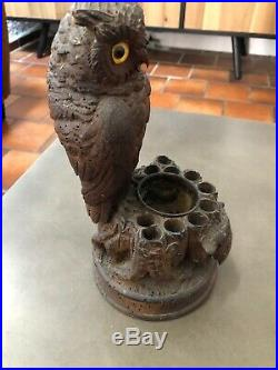 Pot a tabac Porte Pipes Ancien En bois sculpté Hibou Chouette