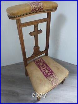 Prie Dieu ancien 19e style Napoléon III croix sculptée