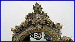 Psyché miroir de table ancien bois sculpté à décor de feuille d'acanthe