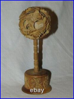 RARE BOULE DE CANTON BOIS SCULPTE ANCIEN Chine Chinese Carved wooden Puzzle Ball