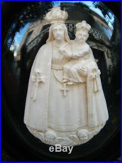 RELIQUAIRE ancien NOTRE DAME de FOURVIERE ECUME de MER sculptée NAPOLEON III