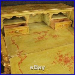 Rabat vénitien bois sculpté verni peinture bureau secrétaire style ancien 900 XX