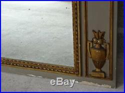 Rare Ancien Grand Miroir Boiserie Bois Sculpte Peint Et Dore Style Louis XVI