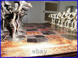 Rare Ancien Jeu Déchec Complet Plateau Bois Kolatier Sculpté Pions En Bronze