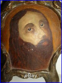 Rare Cadre Tableau Ancien XVIII ème ou XIX ème en Bois Sculpté Peint Christ