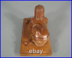 Rare Encrier Ancien Bois Sculpte Style Foret Noire Decor Egypte Sphinge