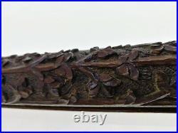 Rare, Soufflet de Cheminée en Bois Sculpté et Bronze, ancien L. 80 cm