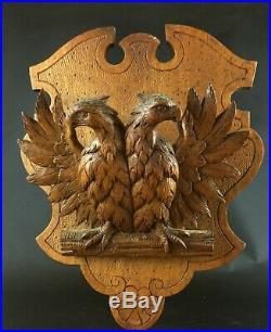 Rare ancien Porte Lettre en bois sculpté bas-relief aigle & blason XIXe Napoléon