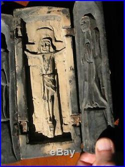 Rare ancien Triptyque bois sculpté Jesus Marie Joseph art religieux carved wood