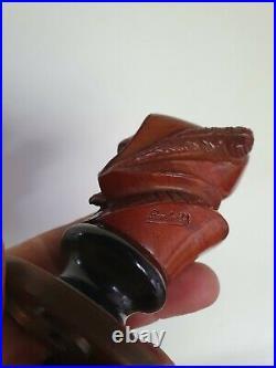 Rare ancienne Pipe En Bois Sculpte lamberthod soclee