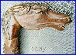 Rare ancienne canne art-populaire en bois sculpté décor de serpents