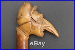 Rare ancienne canne caricaturale pommeau sculpté en forme de tête grotesque