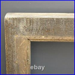 Rare grand cadre épais en bois massif sculpté 69 x 59 cm ancien