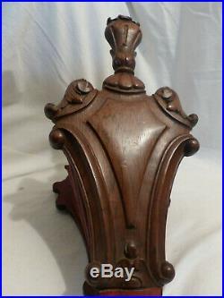 Rare soufflet de cheminé ancien bois sculpté cuir bronze 18 ou 19eme bon etat