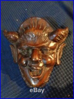 Rare tete en bois sculpte main de diable ou Bacchus mythologie ancien 19 eme