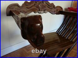 SAVONAROLE ancienne fauteuil, chaise pliante en bois sculpté tête de lion TBE