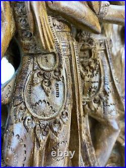 SPLENDIDE SCULPTURE PANNEAU INDONESIE ANCIEN SCULPTE MAIN BOIS DE SANTAL XXème