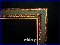 SUPERBE CADRE ANCIEN ITALIEN VERT OLIVE DORÉ A CASSETTA 55 x 46 cm FRAME F10