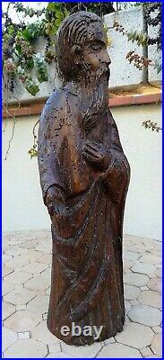 Saint Personnage (ou prophète) très ancien en bois sculpté