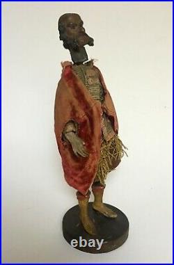 Santon ancien en bois sculpté, Corps articulé, Italie, XIXe ou avant