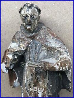 Sculpture Ancienne Bois Sculpté Art du XVII éme XVIIIe Siècle Personnage