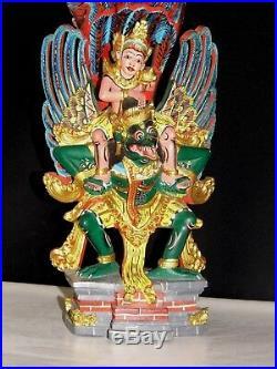 Sculpture Ancienne Sculptés Bois Polychrome 1950 Garuda Dieu Bali Indonésie Rare
