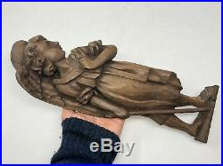 Sculpture Ange Bois Sculpté XIX ou XVIII ème Siècle Relief Art Sacré Ancien