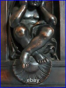 Sculpture, ancien élément décoratif de meuble, bois sculpté 19ème XIXème