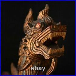 Sculpture ancienne Dragon asiatique en bois sculpté