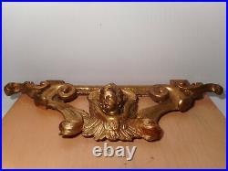Sculpture statue ancienne 18 siècle bois sculpté doré ange putti feuille acanthe