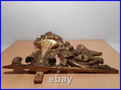 Sculpture statue ancienne bois sculpté doré ancien 18 siècle ange vase fleur