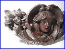 Sculpture statue ancienne bois sculpté tete masque femme corne d'abondance