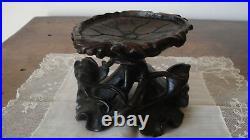 Socle chinois ancien bois sculpté XIXe ép. Qing pièce unique/présentoir végétal